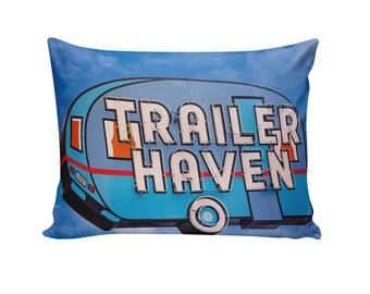 Travel Trailer Neon Sign Pillow Cover | Travel Trailer Decor | Glamping Decor | Retro Home Decor | Decorative Pillow | Happy Camper