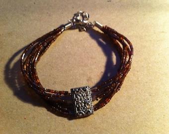 Brown Seed Bead Bracelet (247)