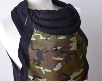 MEI TAI Baby Carrier / Sling / Reversible / Camouflage with Black in straight cut model/ Cotton / Handmade / Made in UK