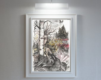Giclée Art Print - By The River's Edge- Watercolor Art-  Mixed Media - By Rachael Caringella Tree Talker Art