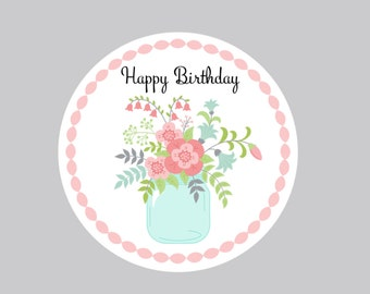 Set of 8 Birthday Tags, Personalized Tags, Favor Tags, Party Tags, Treat Bag Tags