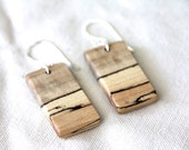 rectangles -spalted maple and sterling silver earrings - natural wood earrings