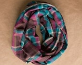 Cotton Infinity Scarf - Fuchsia Turquoise Brown White Plaid - Brushed woven cotton flannel - ready to ship