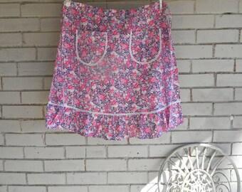 floral apron half apron cotton apron cottage chic shabby linens kitchen linens ruffled apron pink and purple ladies retro apron - Boho chic