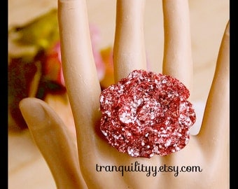 Open Rose Ring ,Dusty Rose Glitter Large Open Rose Resin Adjustable Ring, Birthday Gift, Handmade By: Tranquilityy