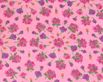vintage floral fabric pink flowers feedsack style 36 in wide x 4 yards quilting fabric polished cotton yardage