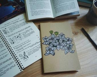 White Milkweed Flower Large Moleskine Notebook Journal Handcarved Hand Colored Gardener Garden Spring Wildflower Gift Present Dad Women