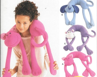 Simplicity 5310 Animal Neck Travel Pillows Sewing Pattern Cat Dog Monkey and Lion