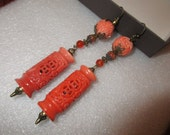 """OOAK 4"""" Long, Artisan-Made, Carved LATTICE SHELL & Celluloid Asian Coral Dangle Drop Pierced Earrings w/Vintage Brass, Rhinestone Accents"""