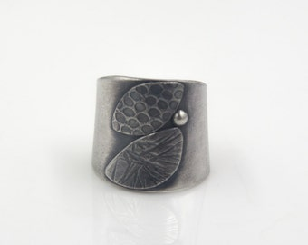 Textured Flora Sterling Silver Cuff Ring