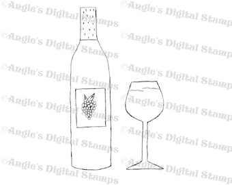 Wine Bottle With Glass Digital Stamp Image