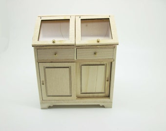 Miniature dollhouse unfinished  cupboard with sliding doors  - code. VMJ1504