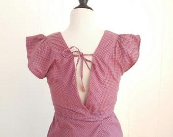 20% SALE Vintage 70s Plaid Cotton Sundress, 70s Wrap Dress