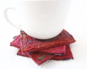 Felted Wool Coasters WARM RED Fair Isle Sweater Wool Coasters / Recycled Mug Rugs / Upcycled Reclaimed Wool / Eco Decor by WormeWoole