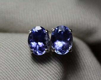 Tanzanite Earrings, Natural Tanzanite Stud Earrings 3.47 Carats Appraised at 1908.50 Sterling Silver Blue Tanzanite Jewellery