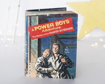 """Book, A Power Boys Adventure, """"The Mystery of the Haunted Skyscraper,"""" Mel Lyle, ghost, suspense, vintage 1964 Whitman, Halloween decoration"""