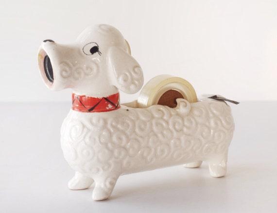 Vintage Pencil Sharpener Tape Dispenser Ceramic Dog 1950s