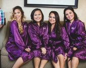 Bridesmaid Robes, Satin Bridesmaid Robes, FREE Robe set of 6 or More, Wedding Robe, Personalized Robe, Bride Robe, Brown Robes