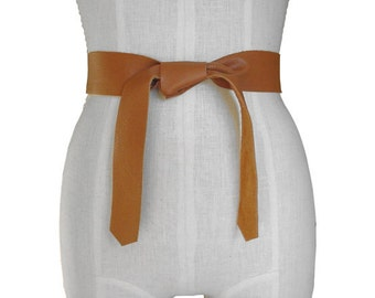 "Soft Leather Tie Belt  ,Tie-on Honey Tan Strap Belt,  Knotted Sash,  Coat Belt, XS, S, M, L, XL ,  ""Basic Belts Collection"""