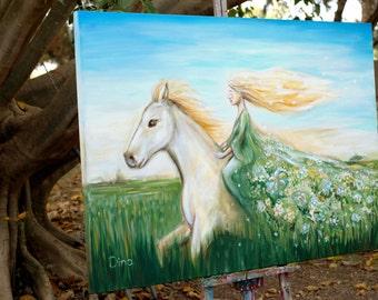 Girl riding a horse, fantasy art, Horse Painting on Canvas, Trust art,  goddess art, big horse art, woman on a horse, acrylic painting, Ooak