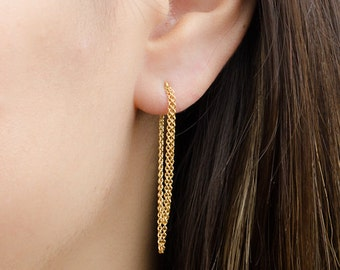 Double Chain Dangle Earrings, Sterling Silver & Gold Plated, Chain Studs, Dangling Post Earrings, Minimalist, Edgy Jewelry, Gift, CHE001