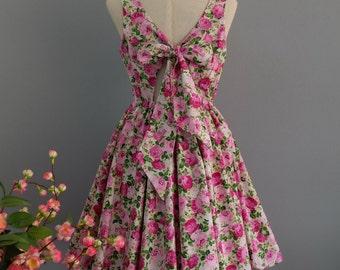 SALE S Pink dress pink floral dress pink party dress floral party dress floral sundress pink bridesmaid dresses floral bridesmaid dresses