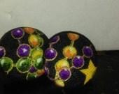 Mardi Gras Button Earrings in 2 Sizes