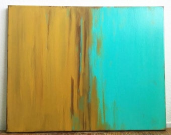 Guaranteed // Abstract Painting On Canvas - Turquoise Mustard Gold Rustic