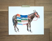 Donkey print- fine art print - animal illustration - Mexcio  - hand painted - flowers