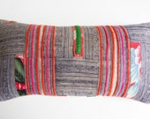 Colorful Vintage Hmong Pillow Cover from Thailand - Batik Tribal Throw Pillow Boho