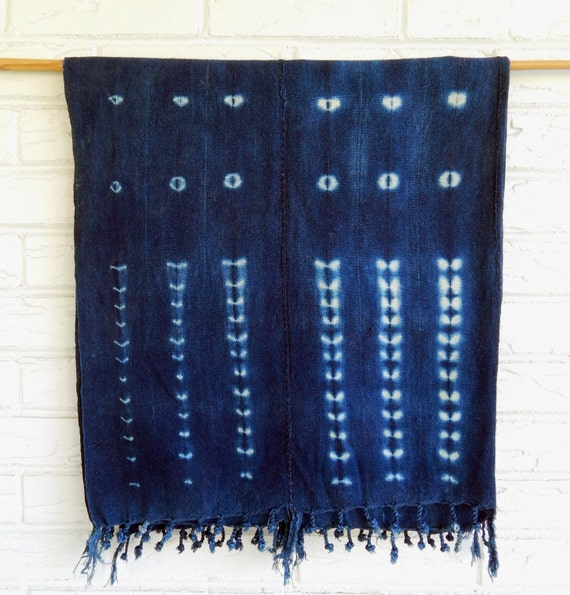 Vintage Indigo Mudcloth Throw African Shibori By