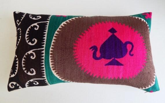 Vibrant Silk Suzani Pillow Cover - Large Boho Lumbar Pillow - Magenta and Black Bohemian Throw