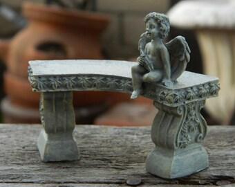 Minaiture Fairy garden bench with Cherub Fairy Garden Accessories Fairy Garden Furniture