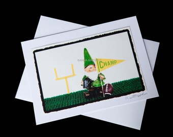 Football Gnome Birthday Card -  Boy Birthday Card - Funny Sports Birthday Card - Funny Children's Birthday Card - Funny Gnome Birthday Card
