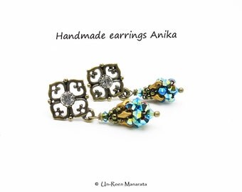 Handmade earrings Anika/ Jet AB 2x