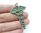 10pcs 30x49mm Rustic Charms, Bronze Green Patina Caduceus Medical Symbol Mercurial Staff with Wings Snakes  Rustic Patina Charms c8173
