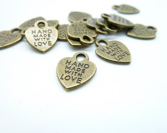 40pcs 12x15mm Antique Bronze Mini Heart Made With Love Charms Pendant c4658