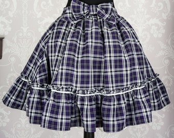 Tartan Lolita Skirt with a frill at the bottom and matching Detachable Bow, perfect frilly skirt for anyone's wardrobe. - Made to Order