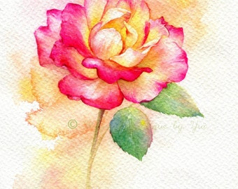PRINT – Rose Watercolor painting 7.5 x 11""