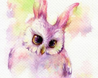 PRINT – Owl Easter - Watercolor painting 7.5 x 11""