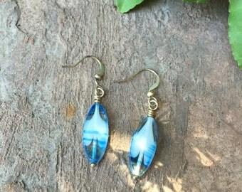 Transparent blue glass earrings