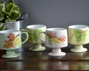 Four Patsy Oliver 1980 Painted Footed Mug Set / Seasonal Foliage