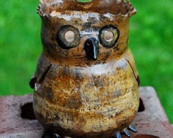 Decorative Pottery Horned Owl Bird Lantern