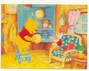 POOH WiTH PIGLET LooKING in HuNNY JaR ATHeNA PoSTCARD WiNNIE the PooH POSTCARD