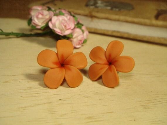Sweet Brown Plumeria Frangipani Stud/Post Earrings (E142)