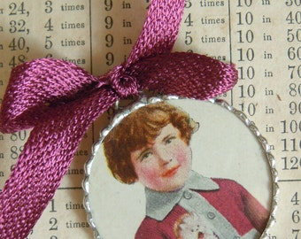 Fiona and The Fig - 1920s Era - Girl and Her Monkey - Charm - Necklace - Pendant - Jewelry