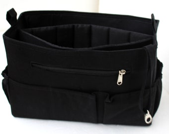 Extra tall- Large size Purse organizer with iPad Sleeve - Bag organizer insert in Black fabric