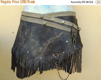 """20% OFF bohemian tribal gypsy fringed leather belt..32"""" to 40"""" waist or hips.."""