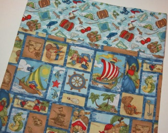 14 x 20 Pillowcase, Teddy Bear Pirates Travel Size Pillowcase, Child Toddler Boy Daycare Camping Blue Pillowcase Gift under 10
