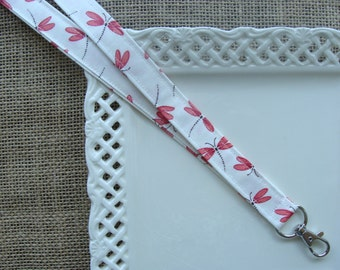 Fabric Lanyard  - Dragonflies on Ivory